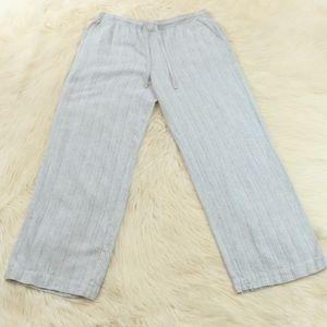 Rafaella Light Blue Linen Blend Wide Leg Pants